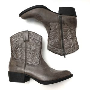 Coconuts Pistol Faux Leather Ankle Cowboy Boots